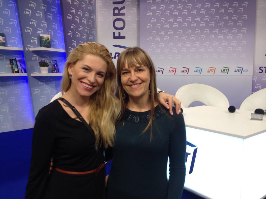 Jag och Katarzyna Bonda efter framträdandet.
